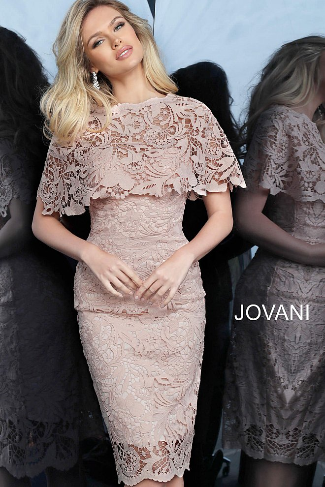 Light pink lace cape cocktail dress 1401