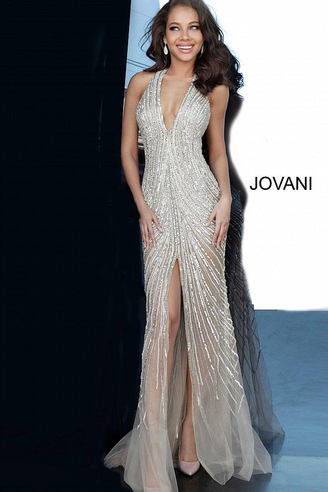 Jovani nude embellished high slit gown