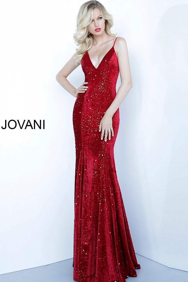 Jovani red velvet spaghetti strap evening gown