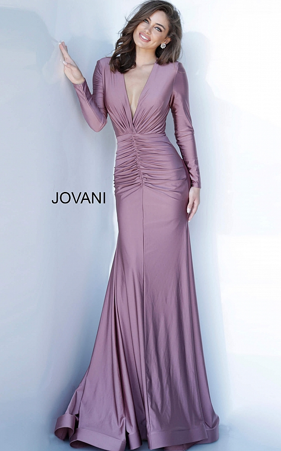 Jovani ruched long sleeve evening gown 1850