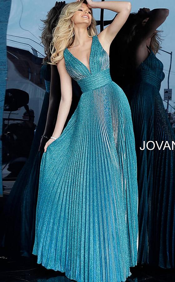 Jovani empire waist pleated prom dress 2088