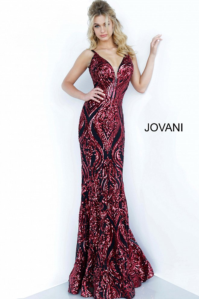 Jovani black and red sequin pattern prom gown