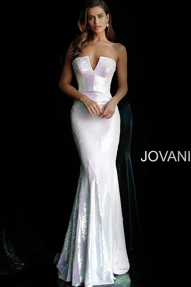 Jovani white sequin prom gown 5069