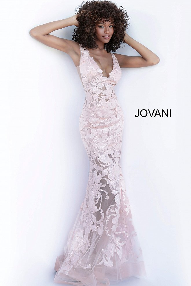 Jovani sheer fitted rose gold prom gown 60283