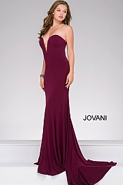 Eggplant Strapless Fitted Prom Dress 42842
