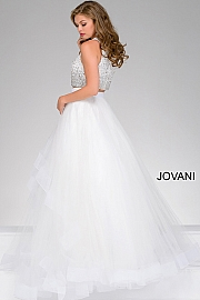 White Two-Piece Layered Prom Ballgown 42893