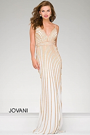 White and Gold Embellished Jersey Prom Dress 45898