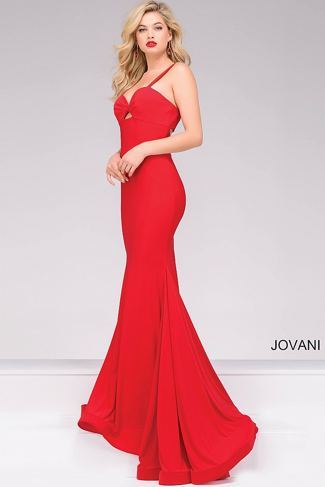 Red Jersey Sweetheart Neckline Fitted Prom Dress 49251