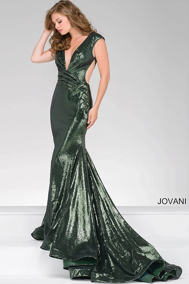jovani Olive Green Sequined Fitted Prom Dress 56969