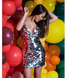 Jovani silver fully embellished fitted cocktail dress 62025