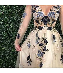 Jovani nude floral long sleeve prom gown 65359