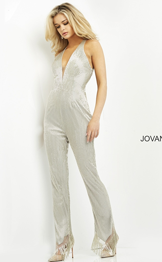 Jovani 04414 Silver Embellished Ready to Wear Jumpsuit