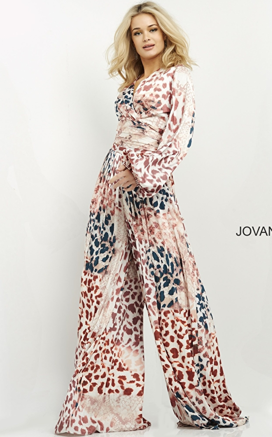 Animal print two piece ready to wear Jovani pant suit