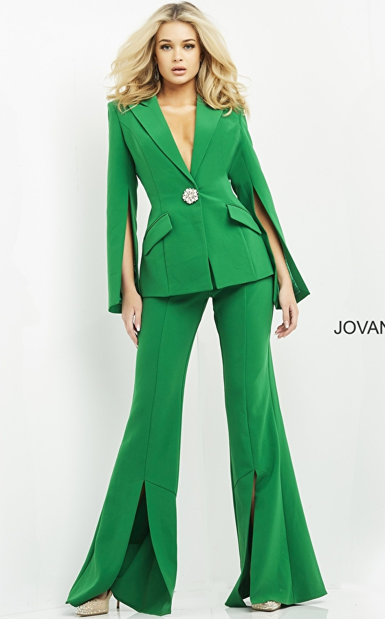 jovani Jovani 06922 Emerald Single Breasted Contemporary Pant Suit
