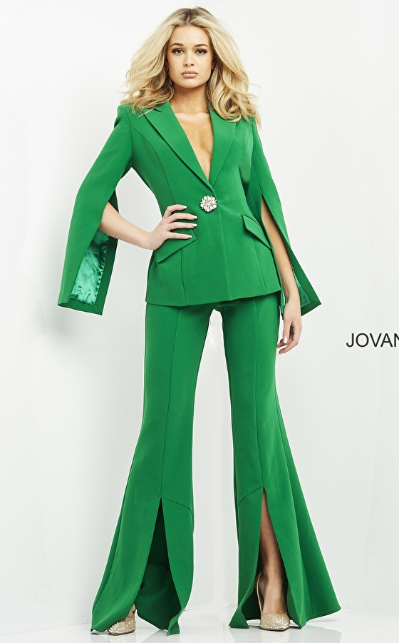Flare pants emerald contemporary suit 06922