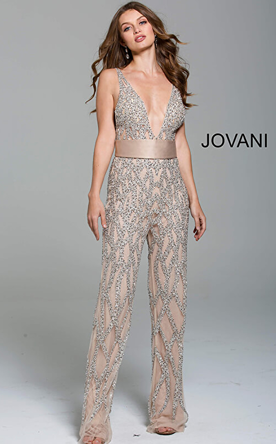 Silver Nude Plunging Neckline Beaded Contemporary Jumpsuit 61573