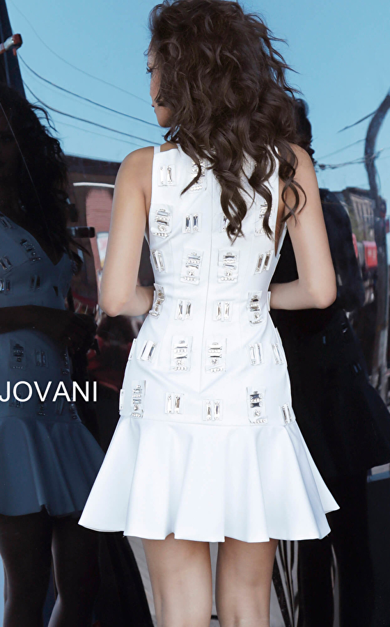 Jovani 63338 White Fit and Flare Embellished Contemporary Dress