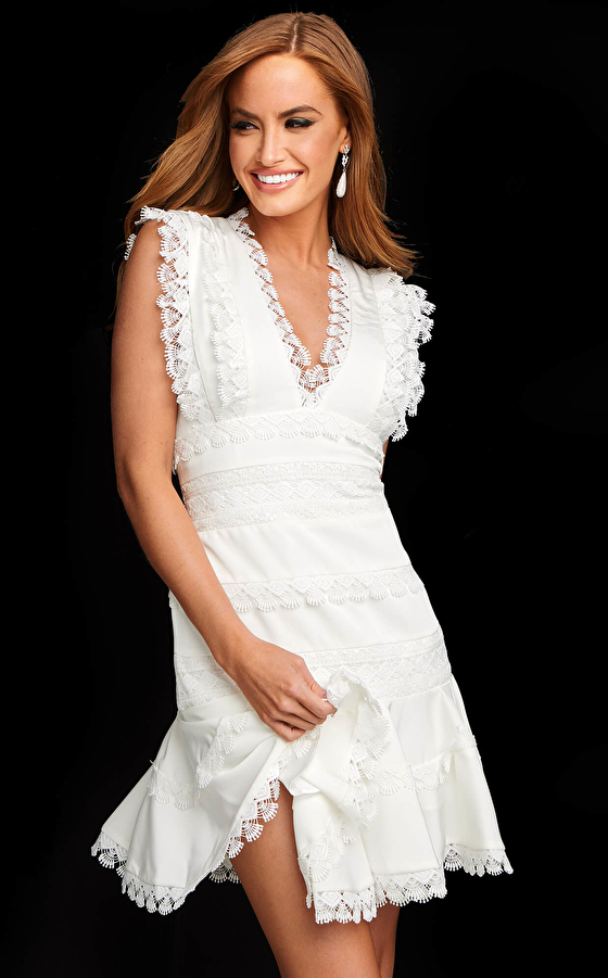 Jovani M02856 White Fit and Flare Reception Dress
