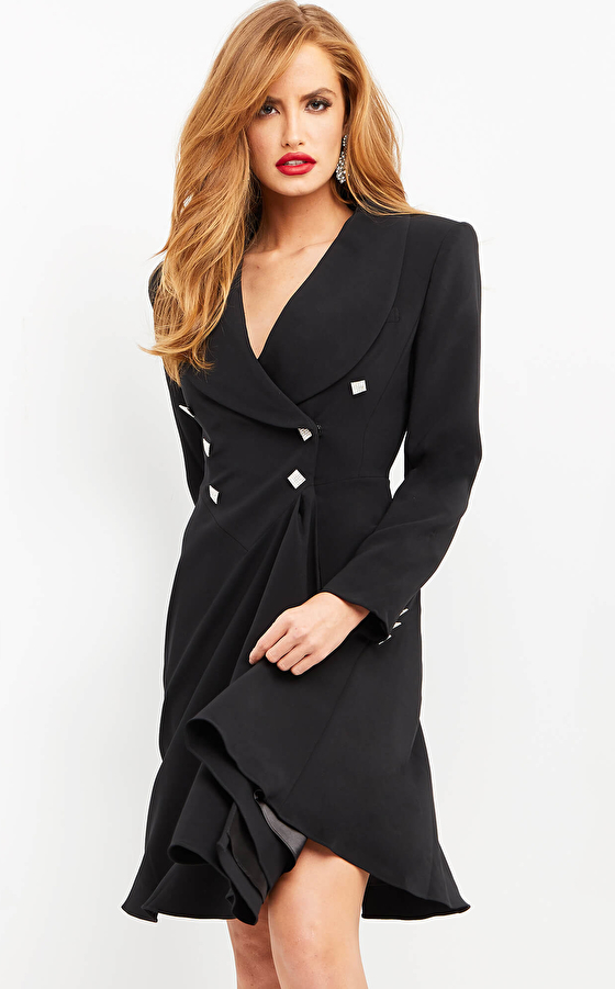 jovani Jovani M04302 Black Fit and Flare Contemporary Blazer Dress