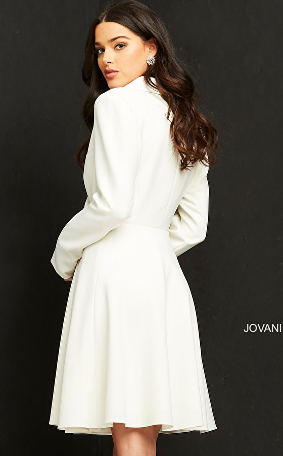 Off white long sleeve blazer dress M04302