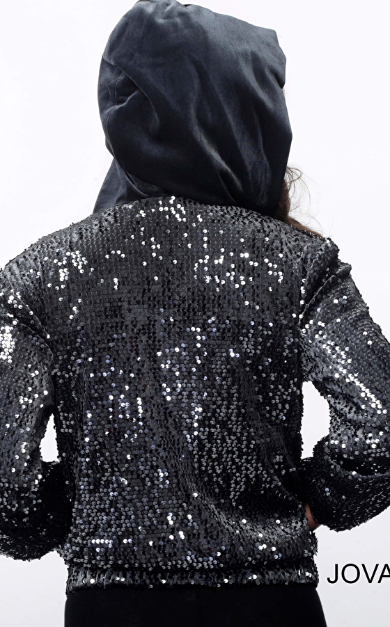 Grey hooded long sleeve sequin jacket M61426