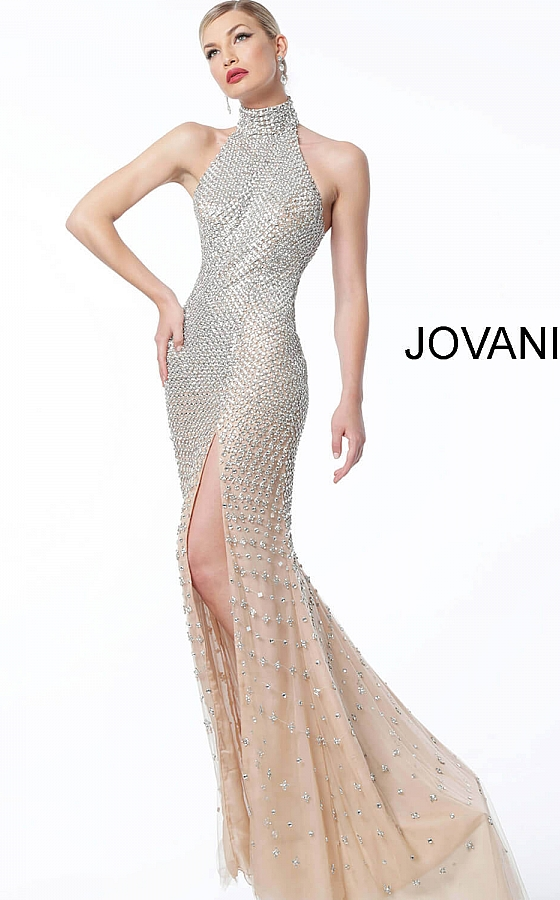 jovani Nude Silver Beaded High Neck Pageant Dress 57018
