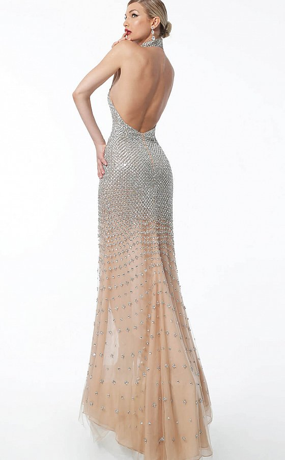 Nude Silver Beaded High Neck Pageant Dress 57018