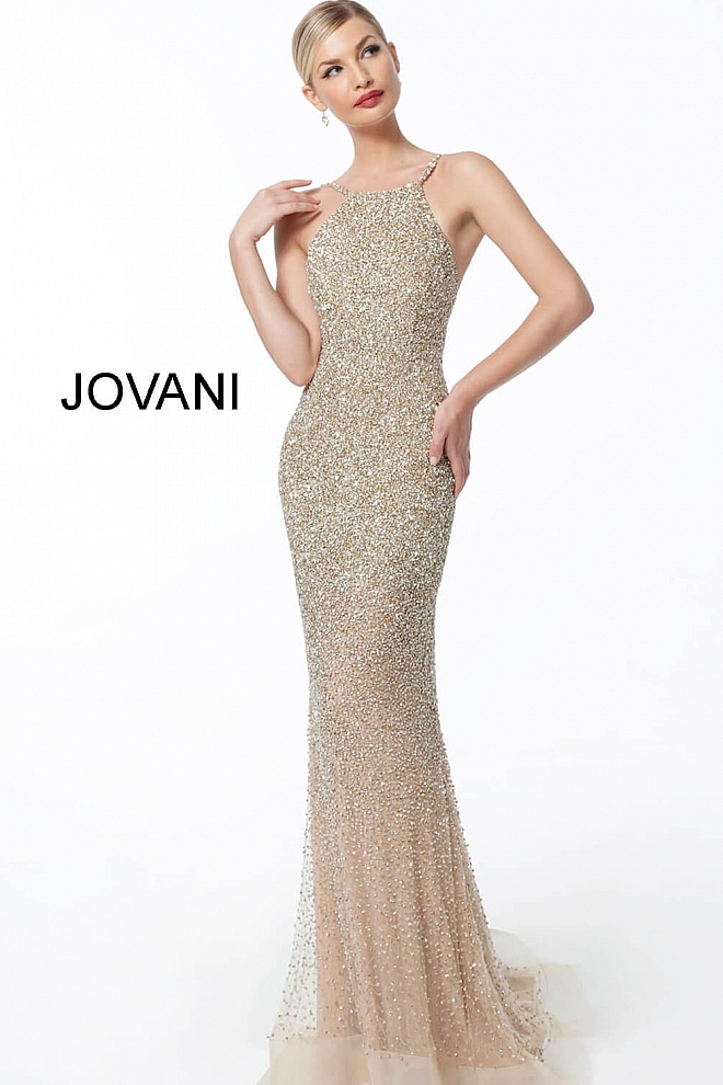 jovani Gold High Neck Backless Beaded Pageant Dress 60280