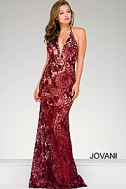 Burgundy Fitted Lace Prom Dress 40118