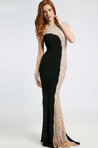 black long fitted jersey dress 98867 3989