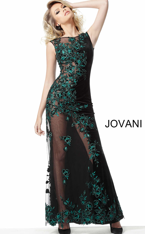 Jovani 63645 Black Teal Embroidered Couture Dress