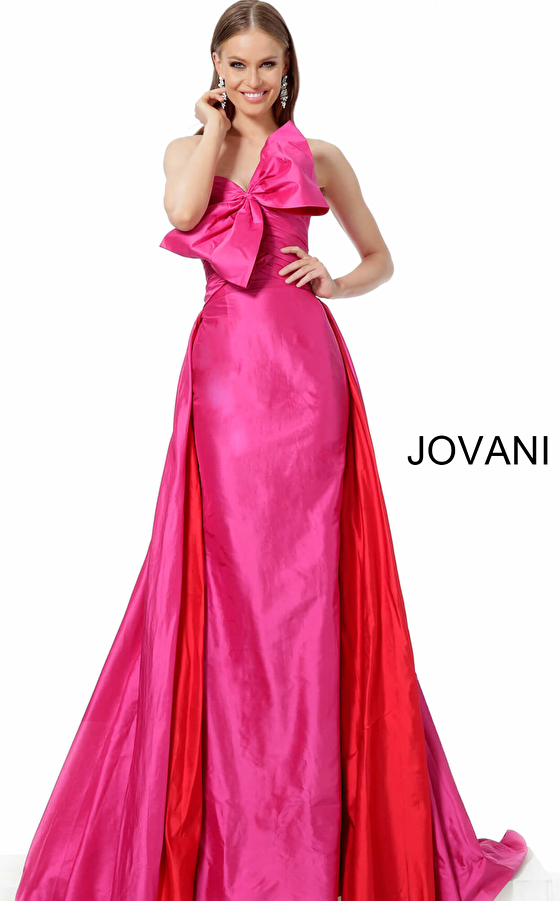 Jovani 66361 Fuchsia Red Strapless Pageant Gown