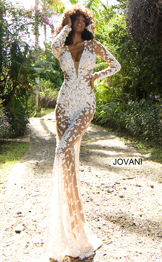 Jovani S59005 Plunging Neck Long Sleeve Couture Gown