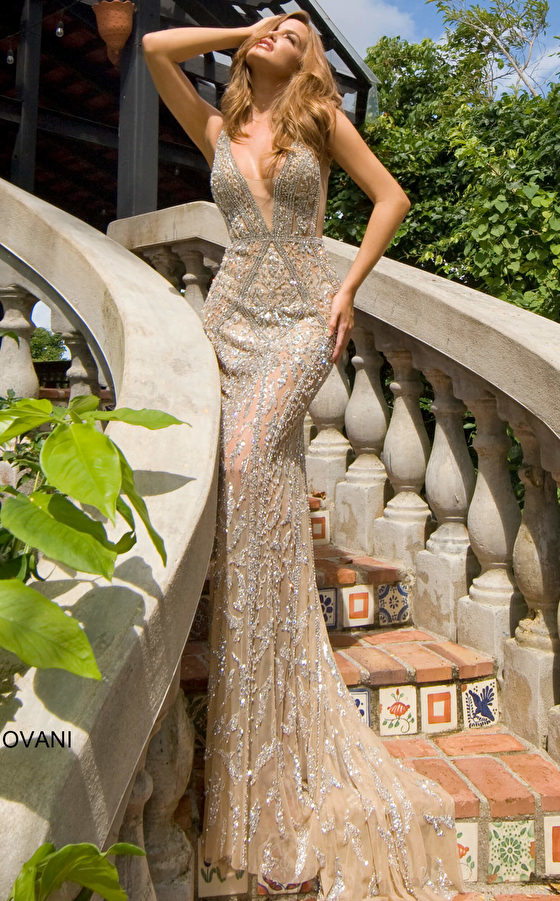 Jovani S67085 Nude Silver Embellished Sleeveless Gown