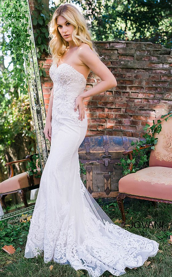 White Embroidered Strapless Bridal Gown JB37043