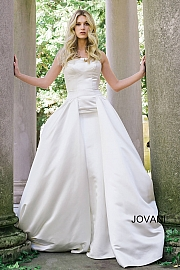 jovani Off White Strapless Fit and Flare Wedding Gown JB39250