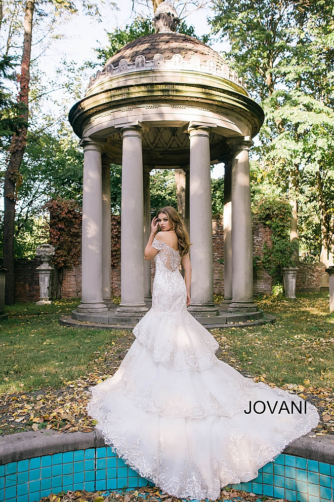 jovani Ivory Off the Shoulder Embroidered Mermaid Bridal Gown JB47701