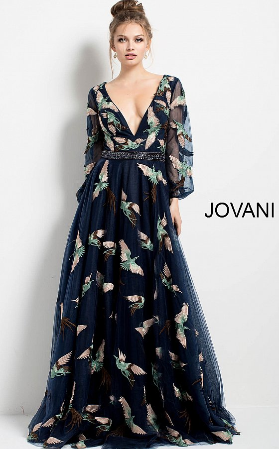 Jovani 55717 Navy Print Plunging V Neck Long Sleeve Evening Gown