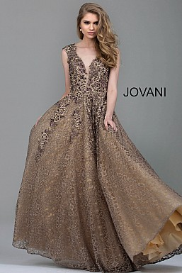 jovani Jovani 55877 Taupe Embroidered Lace A-Line Mother of the Bride Gown