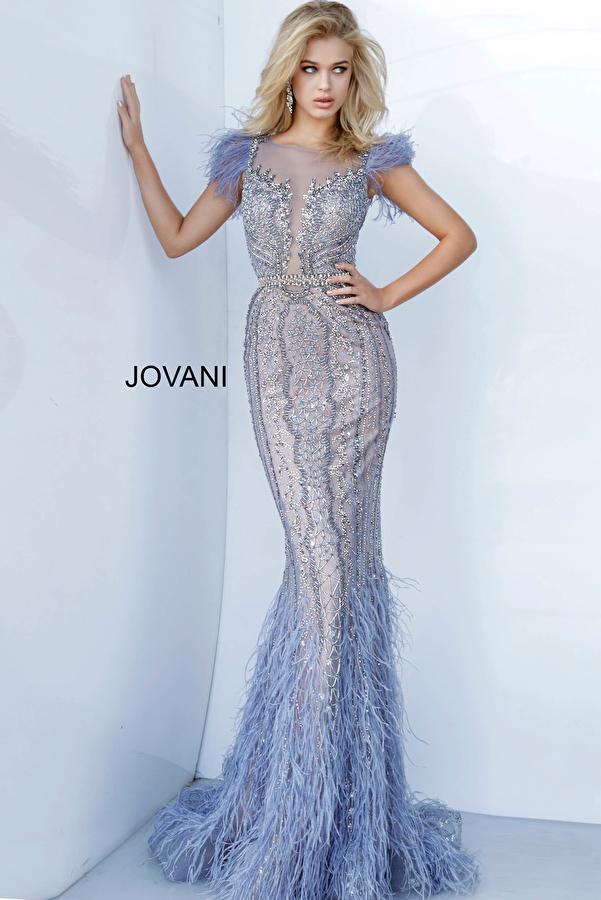 Jovani 02326 Beaded Feather Embellished Dress