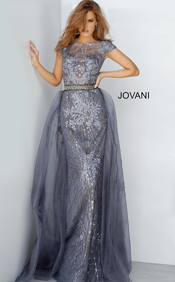 jovani Jovani 02327 Embroidered Cap Sleeve Mother of the Bride Dress