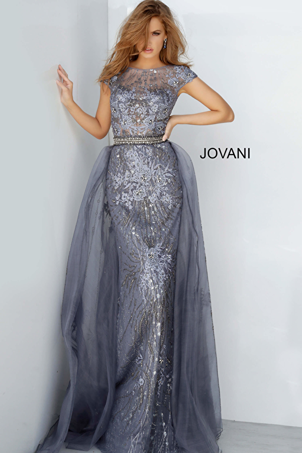 Jovani 02327 Embroidered Cap Sleeve Mother of the Bride Dress