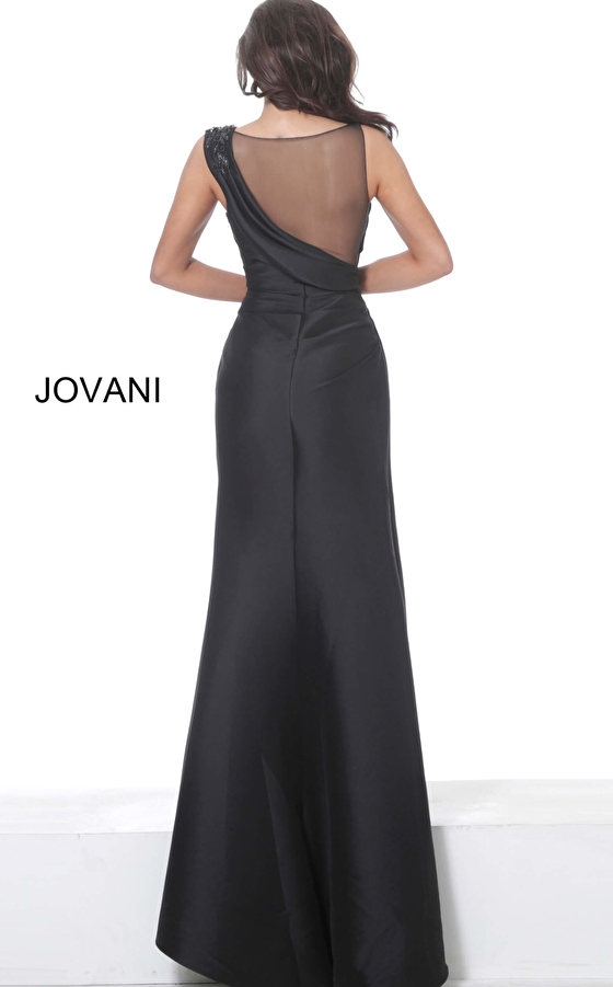 Jovani 02423 Black Ruched Bodice Evening Gown