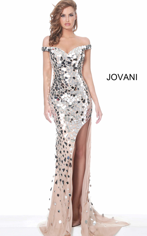 Jovani 02500 Nude Off the Shoulder Cut Glass Evening Dress