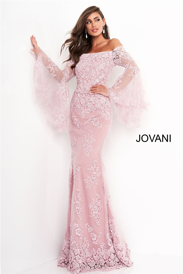 Jovani 02570 Pink Long Bell Sleeve Mother of the Bride Dress