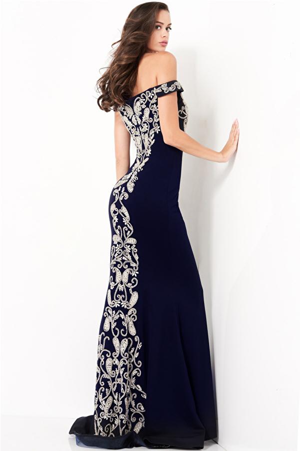 Jovani 02576 Navy Off the Shoulder Embroidered Evening Dress