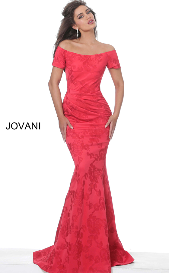 jovani Jovani 02750 Red Short Sleeve Boat Neck Evening Dress