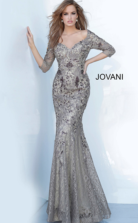 Jovani 02766 Off the Shoulder Floral Embroidered Evening Dress