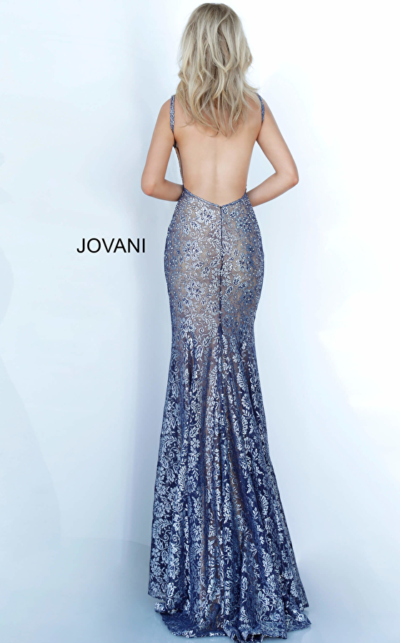 navy silver backless prom dress 02906