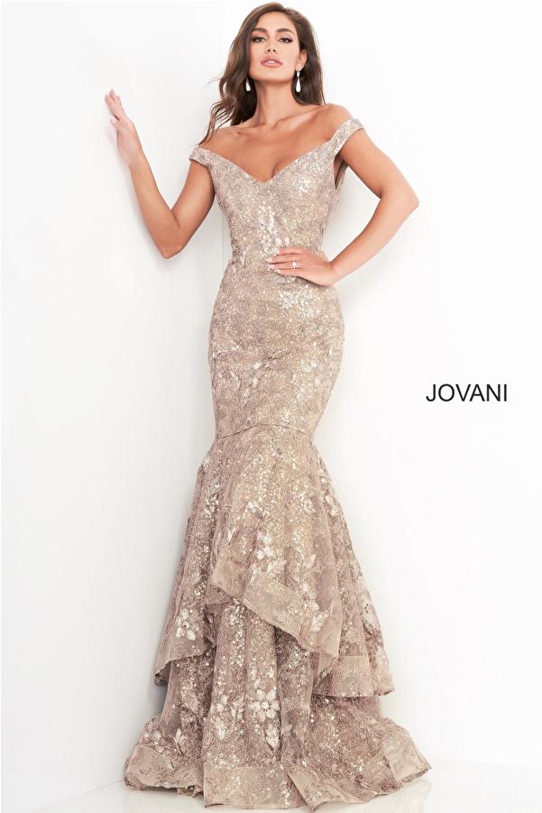 Jovani 03264 Taupe Off the Shoulder Mother of the Bride  Dress